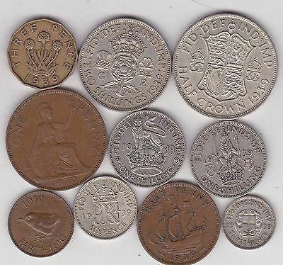1939 George Vi Set Of 10 Coins In Very Fine Or Better Condition