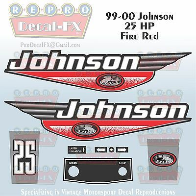 1999-00 Johnson 25 HP Fire Red Outboard Reproduction 9 Pc Marine Vinyl Decal