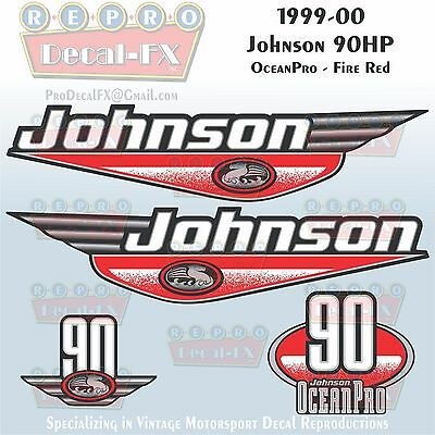 1999-00 Johnson 60HP 3 Cyl Fire Red Outboard Reproduction 4Pc Marine Vinyl Decal
