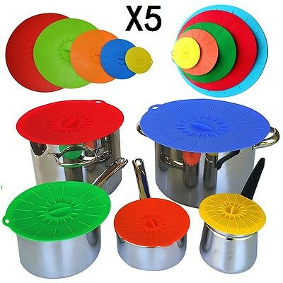 5Pcs Silicone Reusable Suction Seal Lid Food Saver Covers Pan Bowl Containers UK