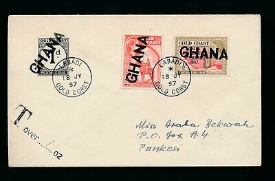 GOLD COAST 1957 LABADI PICTORIALS + POSTADE DUE with GHANA HANDSTAMP to PANKESI