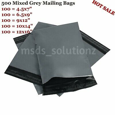 500 Assorted Grey Mailing Bags Packaging Postal Plastic Poly Post 5 Mixed Sizes
