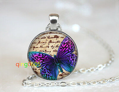 Pixie Butterfly glass dome Tibet silver Chain Pendant Necklace wholesale