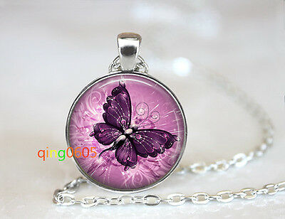 Purple Butterfly glass dome Tibet silver Chain Pendant Necklace wholesale