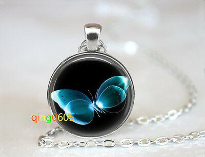 Firefly Butterfly glass dome Tibet silver Chain Pendant Necklace wholesale