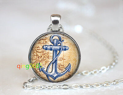 Blue Anchor and Antique Map dome Tibet silver Chain Pendant Necklace wholesale