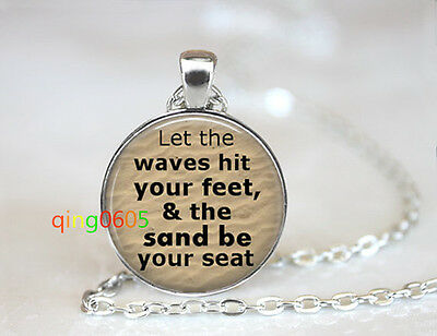 Beach Sand photo glass dome Tibet silver Chain Pendant Necklace wholesale