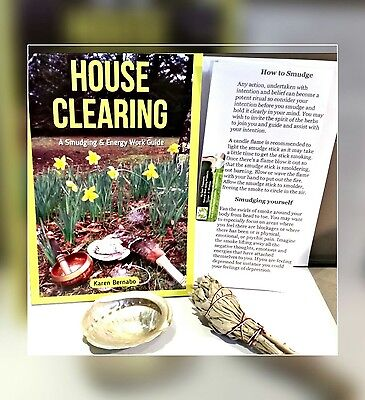 White Sage Home Cleansing Book Spiritual Guide protection FREE Sage INCENSE