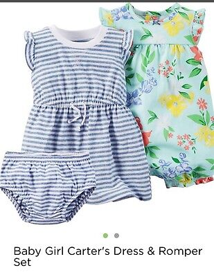 NWT Baby Girls Carter's 6M, 3 Piece Floral Blue Romper & Dress With Diaper Cover