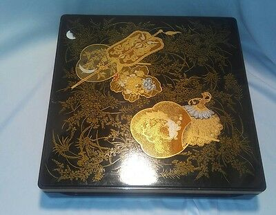 Vintage Lacquer Ware Japan Nesting Trays 4 Trays Base and Lid Makie Lacquerware