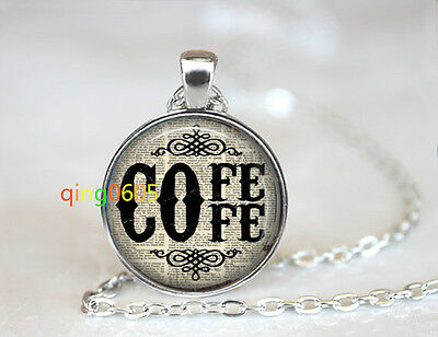 Coffee Lover Coffee  photo dome Tibet silver Chain Pendant Necklace wholesale