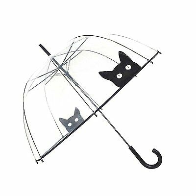 SMATI Stick Umbrella dome transparent - Auto Open - for Women and Kids Cat