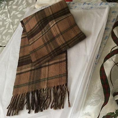 Chaps 100% Acrylic Scarf Made In Italy Ralph Lauren Brown Plaid