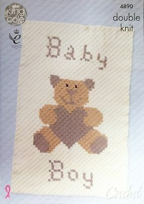 King Cole Crochet DK pattern baby boy ot girl blanket 4890