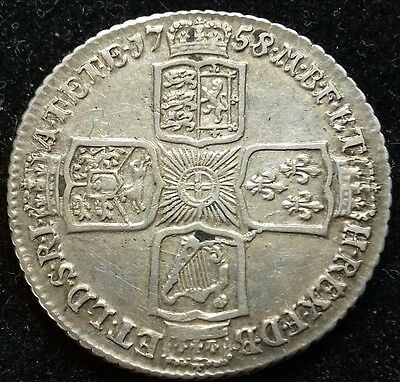 1758 Shilling. George 11 British Milled Coins.