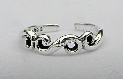 Sterling Silver (925) Adjustable  Spiral  Toe  Ring  !!     Brand New !!