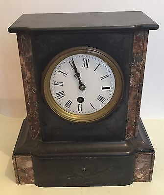 "French Marble Case Enamelled Face Timepiece Mantle Clock 10""H 9""W 5""D GWO"