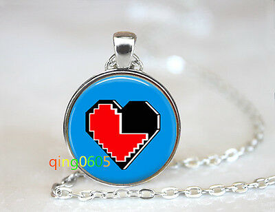 Geekery 8 bit Heart glass dome Tibet silver Chain Pendant Necklace wholesale