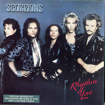 """Scorpions, Rhythm Of Love, NEW 7"""" vinyl single in special boxed set with 5 cards"""
