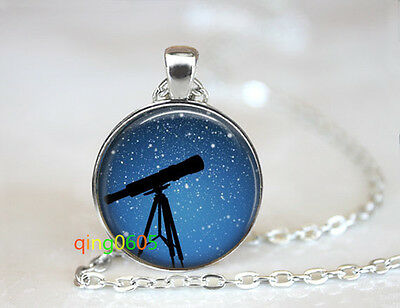 Telescope Star Gazing glass dome Tibet silver Chain Pendant Necklace wholesale