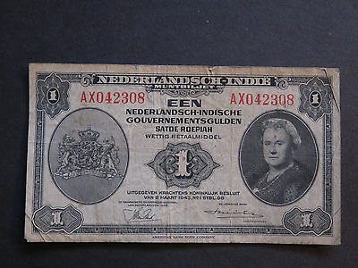 1943 Netherlands Indie Currency, 1 Gulden Circulated Banknote
