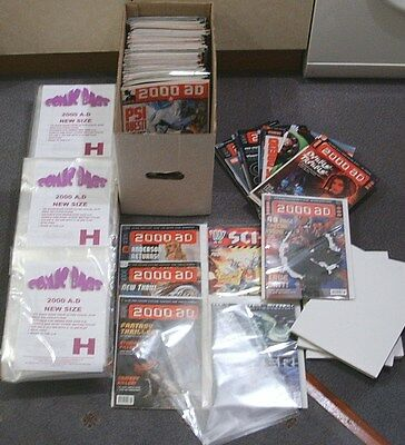 SIZE H. 100 x ULTRA CLEAR COMIC BAGS - NEW SIZE 2000 AD