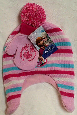 NWT Disney Frozen Striped Winter Hat and Mittens Set Toddler Elsa/Anna/Olaf