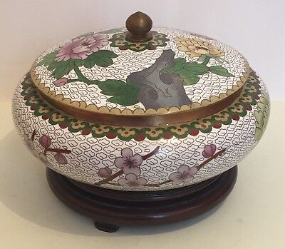 Chinese Cloisonne Circular Bowl And Cover with Floral Decoration On Wood Stand
