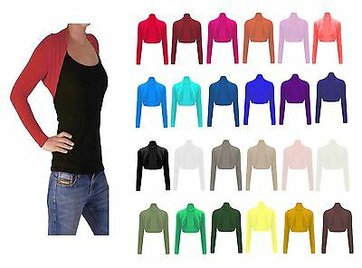 LADIES WOMEN  PLAIN LONG SLEEVE BOLERO SHRUG Girls Top Cardigan New Size 8-26