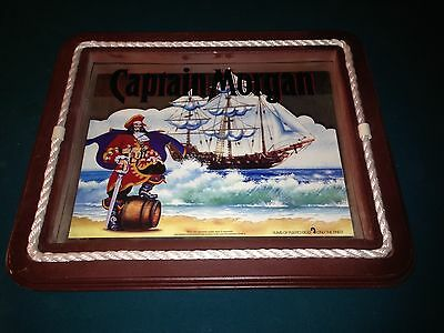 Rare Large Nautical CAPTAIN MORGAN RUM COMPANY Pirate Ship mirror sign 21x25