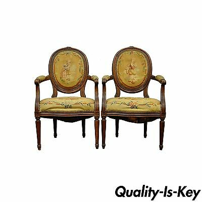 Pair of 19th Century French Louis XVI Style Arm Chairs Needlepoint Carved Walnut