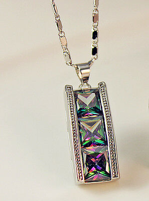 18K White Gold Filled - 8MM Square MYSTICAL Rainbow Topaz Noble Pendant Necklace