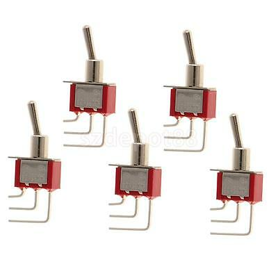 5pcs Red On/On Mini Toggle Switch 3 PIN SPDT Right Angle Length 39mm