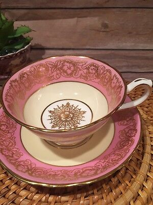 Hammersley & Co. Bone China Pink With Pale Yellow Gold Tea Cup and Saucer