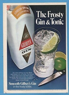 1980 Gilbeys Gin & Tonic Drinks Cocktails Great Bar Decor vintage photo print ad