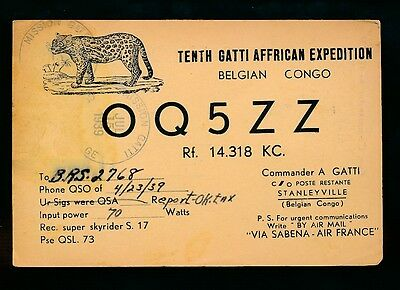 10th Gatti Congo African Expedition QSL OQ5ZZ mailed 1939 card exp postmark