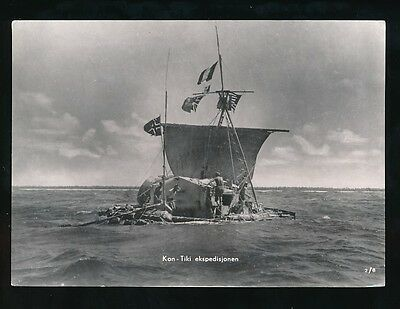 Exploration KON-TIKI Expedition Thor Heyerdahl unused c1947 RP PPC 149x105mm