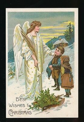 Greetings Xmas ANGEL Children Sledge Christmas c1920/30s? PPC