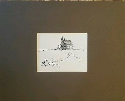 Original pen and ink drawing by Elizabeth Wadleigh Leary Listed artist