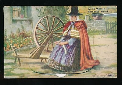 Wales Welsh Lady Spinning Wheel Pocket Novelty Bettws-y-Coed views c1930/50s?PPC