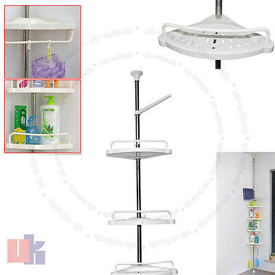 4 Tier Adjustable Telescopic Bathroom Corner Shower Shelf Rack Organiser UKED