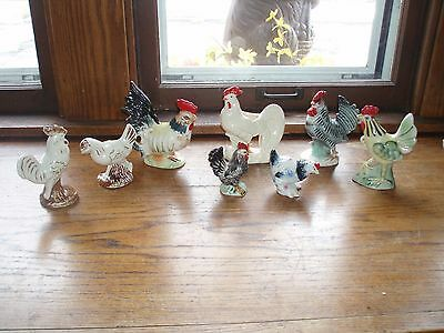 Vintage Lot of 8 Ceramic Chicken Hand Painted Hen Rooster Figurines. USA, Japan