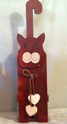 Country Cat Vintage Hand Crafted Paper Towel Holder Brown