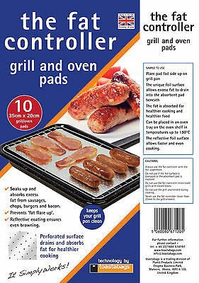 ABSORBER FATS 10 x FAT CONTROLLERS FAT TRAPPER COOKING PADS GRILL AND OVEN