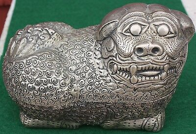 antique S.E. ASIAN CAMBODIAN silver DOG FORM BETEL NUT BOX not Chinese