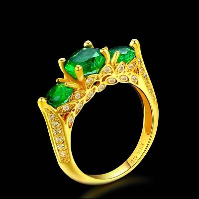 Women's Unique Yellow Gold Plated Vintage Three Stone Green Prong Set Ring