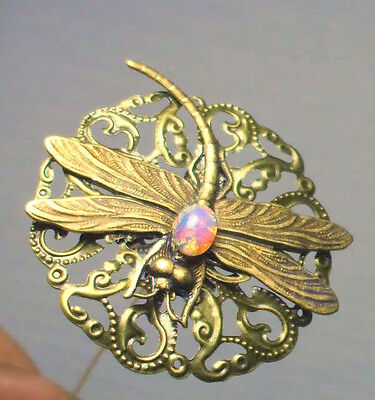 Victorian Art Nouveau Antique Style Bronze Dragonfly Glass Fire Opal Hat Pin