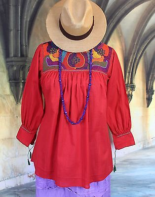 Red & multi-Color Hand Embroidered Blouse, Chiapas Mexico Hippie Boho Peasant
