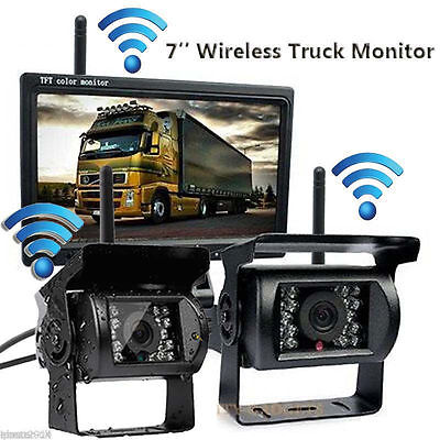 "For RV Truck Wireless Rear View Backup Night Vision 2 Camera System +7"" Monitor"