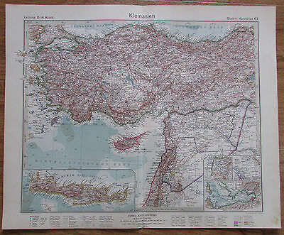 1926 KLEINASIEN Asien Asia Minor Kupferstich alte Landkarte Karte Antique Map